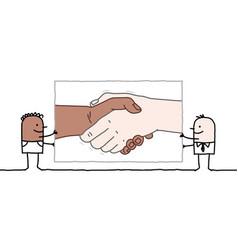 Cartoon black an white men holding up a big vector