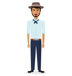 Cartoon brazilian man in national clothes vector