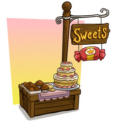 cartoon sweets vendor booth market wooden stand vector image