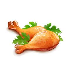 Chicken leg meat food eps10 vector