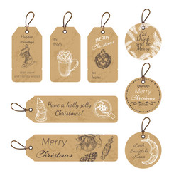 Christmas gift tags with hand drawing elements vector