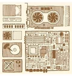 Components of desktop computer vector