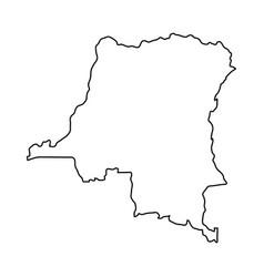 Democratic republic congo map black contour vector