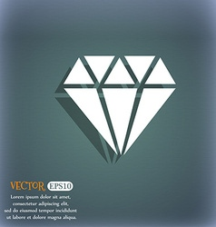 diamond icon On the blue-green abstract background vector image