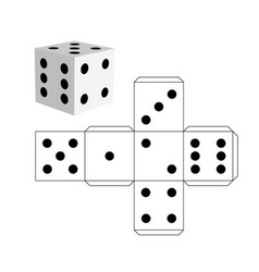 Dice template - model of a white cube vector