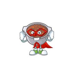 Dish baked beans with cartoon super hero mascot vector