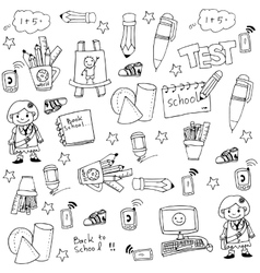 Doodle of school many tools vector