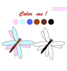 dragnfly for coloring book vector image