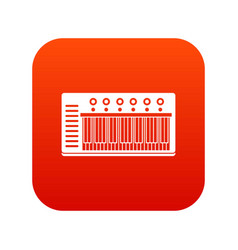 Electronic synth icon digital red vector