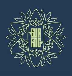 elegant surfing logo with surfboards and floral vector image