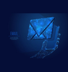 email on smartphone low poly blue vector image