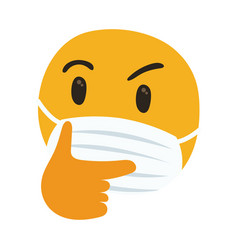 Emoji thoughtful wearing medical mask hand draw vector