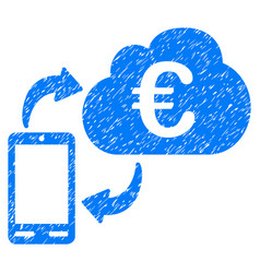 euro cloud banking grunge icon vector image
