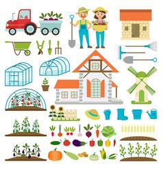 farmer family and farm icons gardener family vector image