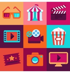 flat cinema icons vector image