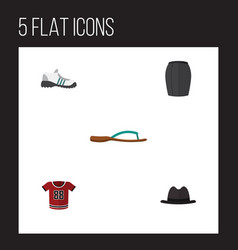 Flat garment set of panama sneakers beach sandal vector