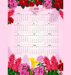 Floral calendar 2018 of flowers design vector