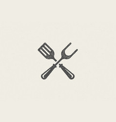 Fork and spatula crossed silhouette as symbol vector