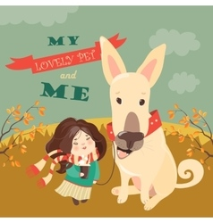 Funny dog with cute girl vector image