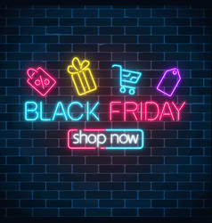 glowing neon sign of black friday sale with vector image