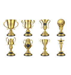 Golden awards realistic trophy cup contest prize vector