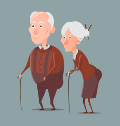 grandmother and grandfather walking with sticks vector image