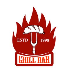 grill bar fork with sausage and fire design vector image