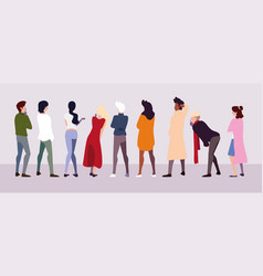 Group people standing with different poses vector
