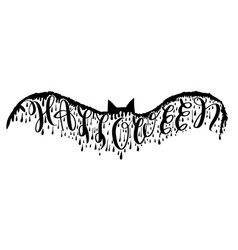 halloween lettering on bat for party vector image