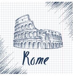 Hand drawn sketch coliseum vector