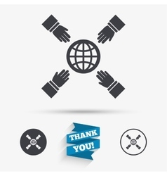 Hands reach for earth sign icon Save planet vector image