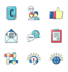 Help command icons set cartoon style vector