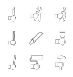 house repair instrument icon set outline style vector image