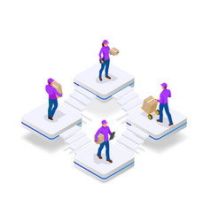 isometric concept delivery man and woman in vector image