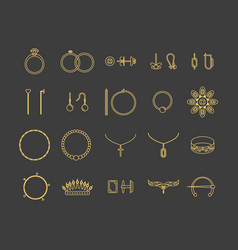 Jewelry gold thin line icon set vector