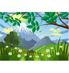 Landscape - mountains trees and flowers in the vector