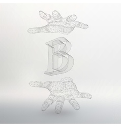 letter B and hand of lines vector image