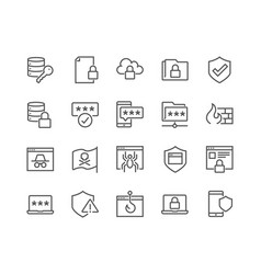 Line data security icons vector