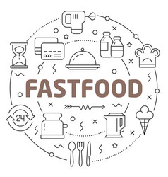 line flat circle fastfood vector image