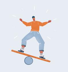 man balancing on board vector image