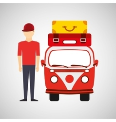 Man red cap vintage van camper suitcases vector