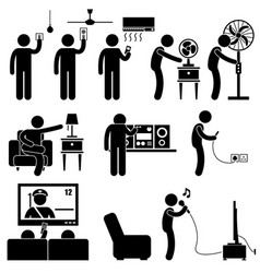 man using home appliances entertainment leisure vector image