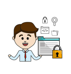 man with digital document padlock security and vector image