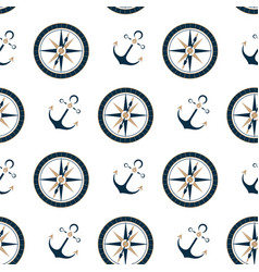 marine compass and ship anchor seamless pattern vector image