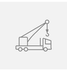 Mobile crane line icon vector