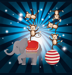 Monkeys and elephant circus show vector