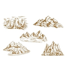 Mountain landscapes retro sketch icons vector image