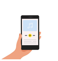 music app mobile application with playlist or vector image