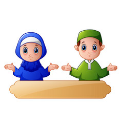 Muslim kid couple waving hand and celebrate ramada vector