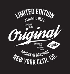 new york brooklyn typography for t-shirt print vector image